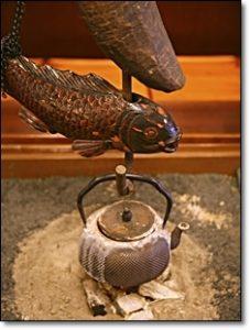 囲炉裏 自在鉤 魚 鉄瓶
