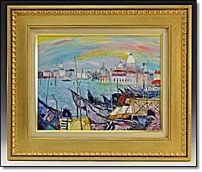 絵画 ヨットハーバー 港