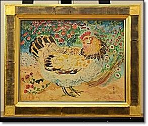野間仁根 鶏 油彩