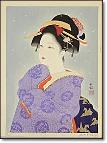 浮世絵 石田和歌美人木版画 初雪