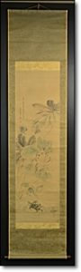 掛軸 花 蟹